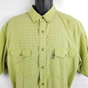Woolrich Stripe Check Short Sleeve Button Front